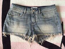 Victoria's Secret Pink Distressed Denim Cut Off Frayed Hem Jean Shorts - 4 *NIP