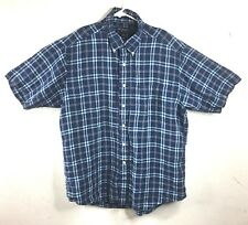 Brooks Brothers Mens Casual Button Down Shirt Size L Plaid Irish Linen