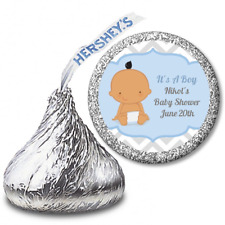 Chevron Its A Boy Hispanic - Personalized Hershey Kiss Baby Shower Sticker Label