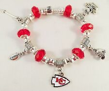 CHIC GLASS BEADS Official NFL KANSAS CITY CHIEFS Football Charm Bracelet RED