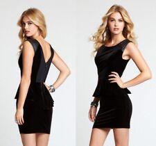 NEW WOMEN'S GUESS! VELVET PEPLUM BLACK DRESS! STUDDED SHOULDERS SIZE 2