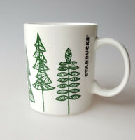 Starbucks Coffee mug 2015 Christmas tree doodles green on white ceramic 12oz