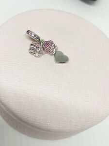 Genuine Pandora Pink Pavé Peach Blossom Flower Dangle Charm