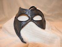 Leather Commedia Masquerade Fantasy Mardi Gras singed Jim Gibeault Eye Mask Blue