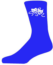 High Quality Blue Socks With Comedy And Tragedy Masks, Lovely Birthday Gift