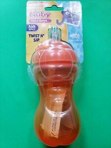 NUBY NO SPILL ORANGE TWIST N' SIP BPA FREE 10 OZ CUP  SOFT FLEX STRAW NEW 12+