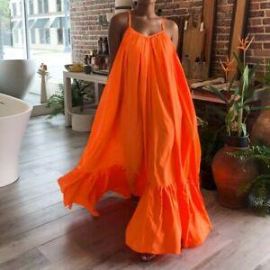 Women Casual Ruffle Maxi Dress Spaghetti Strap Pocket Loose Backless Swing Robe