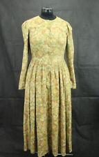 Laura Ashley Kleid lang, Vintage dunkel Beige mit Blumen, Gr. 38 (UK12)