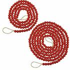 2pcs Wooden Beaded Garlands Christmas Red Bead Garlands Wood Christmas Tree D...