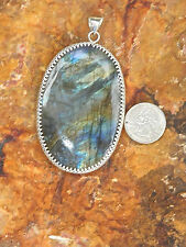 New Large Natural Flash Labradorite Sterling Silver Pendant