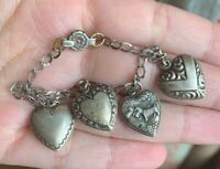 VINTAGE 1940's STERLING Silver PUFFY HEART SCOTTY DOG Repousse CHARM Bracelet