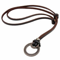 New Men Women Brown Double Ring Pendant Leather Cord Necklace Chain Adjustable