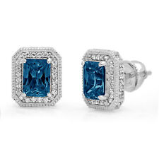 3.98 Emerald Round Halo Natural London Blue Topaz Stud Earrings 14k White Gold