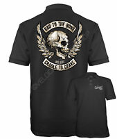 Velocitee Speed Shop Mens Polo Shirt Bad To The Bone Pirate Biker Skull W15062