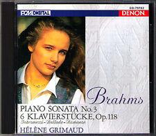 Helene GRIMAUD: BRAHMS Piano Sonata No.3, 6 Klavierstücke Op.118 DENON Japan CD