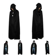 New Black Hooded Cloak Coat Cape Shawl Halloween Spirit Festival Fancy Dress LA