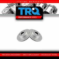 TRQ Front Performance Drilled Slotted G-Coated Brake Rotor Pair for Mercedes