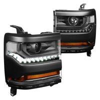 For Chevy Silverado 1500 15-18 Headlights Black Factory Style Projector