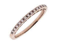 10k Rose Gold One Row Milgrain 2mm Red/ White Diamond Wedding Band Ring 1/12ct
