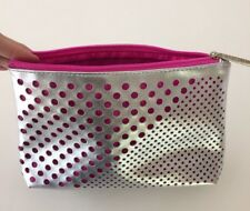 New! CLINIQUE Signature Cosmetic Bag Travel MakeUp Case  Zippered Silver/Pink