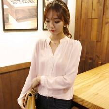 Women Long Sleeve Casual Chiffon T-shirts Blouse V-neck  Ladies Office Shirts
