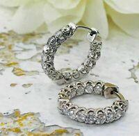 Huggie Hoop Engagement Earrings VVS1 Inside & Outside 4Ct Diamond 14K White Gold