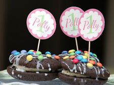BIRTHDAY CAKE TOPPERS CUPCAKE FLAGS 15 PERSONALISED - ANY NAME, AGE OR COLOUR!