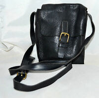 Ellemenno Style Black Thick Pebbled Leather Messenger Bag with Adjustable Strap
