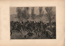 ANTIQUE MILITARY PRINT ~ BATTLE OF VITTORIA (1813) CAVALRY SWORD HIGHLANDERS