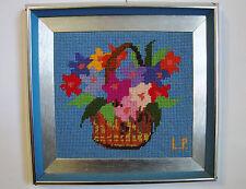 Aluminium on Wood - Framed Embroidery Needlepoint Flowers Basket (wool)