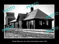 OLD LARGE HISTORIC PHOTO OF WANDA MINNESOTA, THE RAILROAD DEPOT STATION c1910