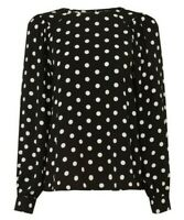 Dorothy Perkins Women's Black Spot Balloon Sleeve Top Size UK 8 New With Tags