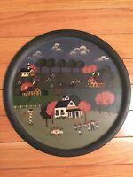 Vintage Folk-Art Village Scene Original Painting On Wood Tray 15.5 inch diameter