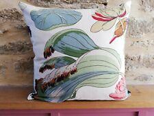 GP&J Baker Nympheus Birds Cotton & Bue Velvet Fabric Cushion Cover