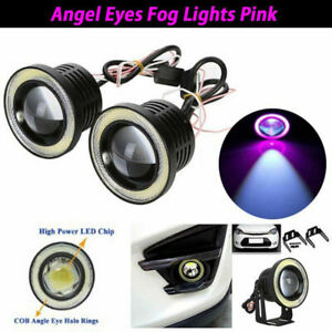 "3"" LED COB Projector Fog Driving Lamp Angel Eye Halo Ring DRL Purple Day Light"