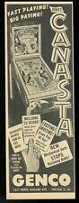 1950 Genco pinball machine Canasta model photo vintage trade print ad