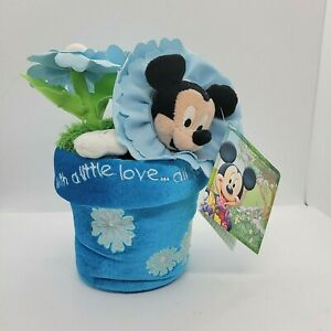 """The Disney Store Mickey Mouse Flower Pot """"With A Little Love..."""" Plush NWT"""