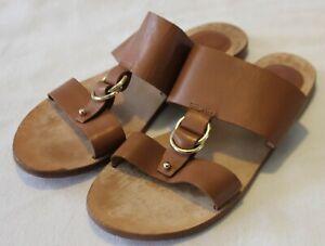 WITCHERY ~ Caramel Tan Leather Flat Slides w Gold Ring Decal EU 40 AU 9 UK 7