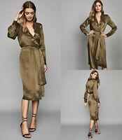 REISS NEW Katie Khaki Green Long Sleeve Midi Shirt Dress