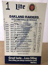 1979 CARDBOARD OAKLAND RAIDERS FOOTBALL SCHEDULE WITH SCORES MILLER LITE (K1)