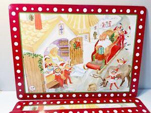 Set Of 4 ~ Pottery Barn Kids ELF ON THE SHELF Christmas Cork Place Mats EUC
