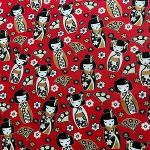 Japanese Red Kokeshi Doll Print Cotton Face Mask Fabric FQ Half Meter or Meter