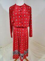 Vintage Koret 1980s Red Paisley Two Piece Secretary Dress Size 8/10