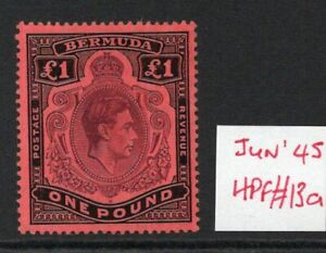 BERMUDA GEORGE VI £1 SG121c   with FLAW June 45 Ptg. L/Hinged condition.