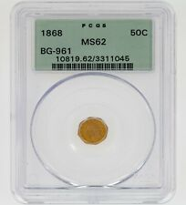 1868 50C California Fractional Gold Indian BG-961 Graded by PCGS as MS-62! Rare!
