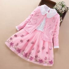 Girls sweater suit two-piece dress pink cute princess dress