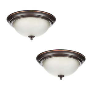 Flush Mount Ceiling Lights 2-Pack Oil Rubbed Bronze Fixture 13 in. Glass Shades