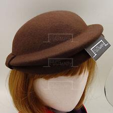VINTAGE Wool Felt Women Pillbox Hat Ladies Stewardess Cloche NEW   56cm   Brown