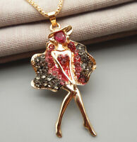 Betsey Johnson Pink Gray Crystal Fairy Dance Girl Ballet Pendant Long Necklace