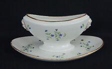 ancienne saucière en porcelaine de Paris Halley époque 19ème décor bleuets